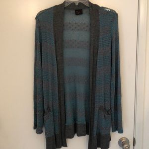 Teal and grey detailed knit cardigan